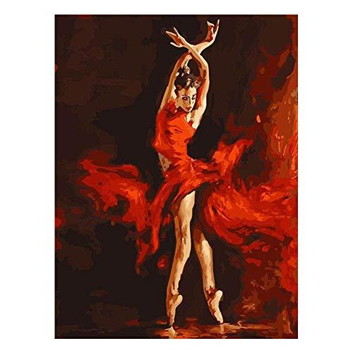 DIY Schilderen op nummer kinderen schilderen kit Rode danseres handgeschilderd frameloos schilderij 40x50cm