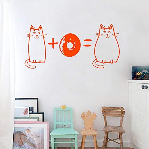 Tianpengyuanshuai fotobehang grappige vette kat muursticker donut patroon vinyl kinderkamer decoratie afneembaar