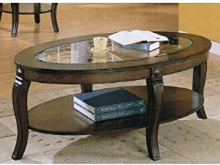 ACME Coffee Table with Glass Top and Shelf in Walnut Finish