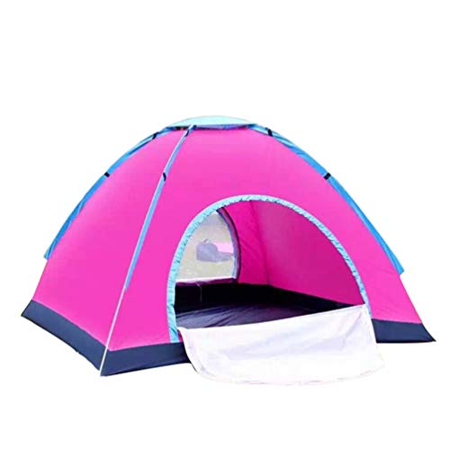 Guiran Pop Up Camping Zelte, Kuppelzelte Wasserdicht Sonnenschutz Schnell Set-up für Camping Wandern Outdoor Aktivitäten Rosa 3-4 Personen