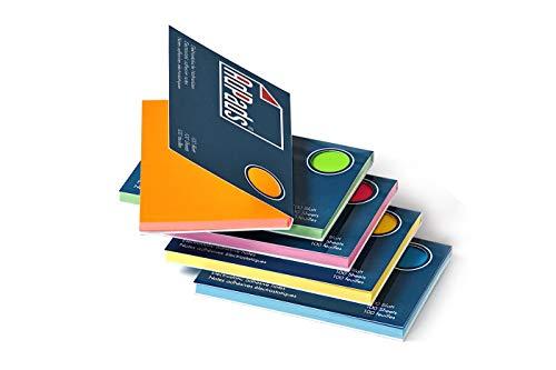 AdPads® elektrostatisch selbstklebende Haftnotizen | 100 x 68mm, 500 Blatt, Set Bunt | Kleine Static Sticky Notes | Beweglich und verschiebbar auf jeder Oberfläche