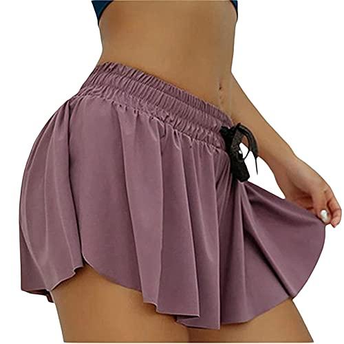 Falda deportiva plisada de color sólido elástica de cintura alta para mujer con pantalones cortos de deslizamiento incorporados, Morado (, 40