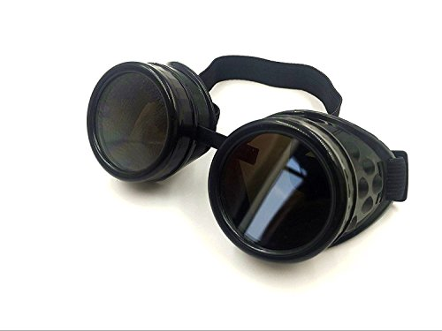 Wocst Cyber Goggles Vintage Steampunk Goggles Glasses Welding Goth Cosplay(Black)