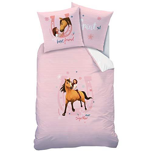 SPIRIT Wende Bettwäsche-Set mit Pferd 135 x 200 80 x 80cm, 100% Baumwolle in Linon Pferde rosa Mädchen-Bettwäsche