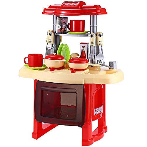 Kit da Cucina per Bambini A Doppio Strato Pentole Gioco di Ruolo Giocattolo Set Valigia Forma Piccolo Chef Gioco di Finzione con Suoni di Luci (Red)