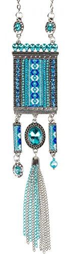 styleBREAKER Halskette Statement Kette im Ethno Style mit Strass, Kette, Perlen und Ethno Stoff, Damen 05030016, Farbe:Türkis
