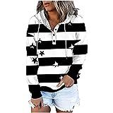 Boshivw Sudadera con capucha para mujer, grande, vintage, color negro, con botones, con capucha, informal, larga, deportiva, de manga larga, Negro , XXL