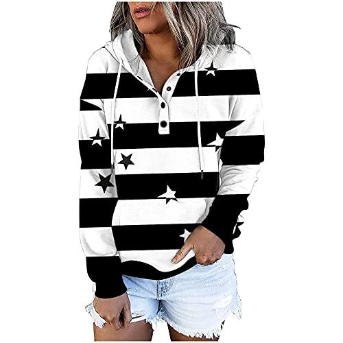 HolAngela Damen Kapuzenpullover Pullover Kordelzug Hoodies Tops Langarm Sweatshirts Geknöpftes Kapuzen-Sweatshirt Sweatshirt mit Taschen