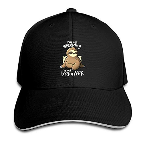 Unisex Adult Brain AFK Sloth Fashion Cotton Baseball Cap Adjustable Plain Dad Trucker Hat Black
