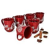 6er Set Glühweintassen, Porzellan, 0,2 l, rot mit Weihnachtslandschaft
