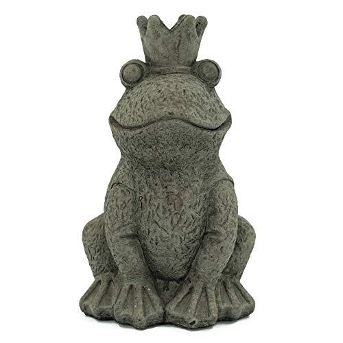 Bambelaa! Froschkönig Figur Garten Skulptur Deko Gartenfigur Groß Für Außen und Innen Sitzend Hoch Zement (Groß (LBH: ca. 17,2 x 14,9 x 27,6 cm))