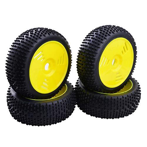 non-brand 4 Piezas Llanta de Rueda y Neumáticos de Goma para 1: 8 RC Buggy Truggy - Amarillo