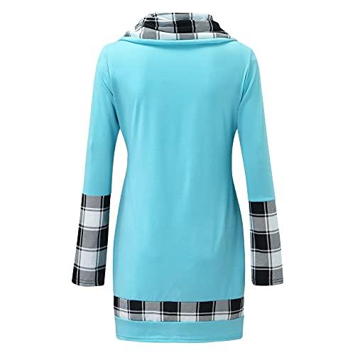 Berimaterry blusa elegante mujer camisetas largo mujer originales top con eatampado de Cuadros Escoceses Jerséis manga larga baratos camisetas mujer con Dobladillo irregular túnico de mujer ropa