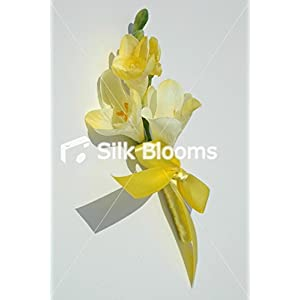 Bright Sleek Yellow Freesia Luxurious Yellow Ribbon Buttonhole