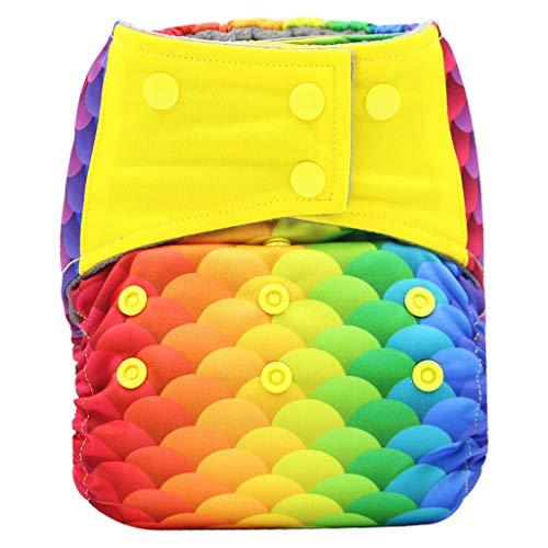 Lenfesh Baby Shorts Pañales de natación impermeables reutilizables Pañal ajustable Patrón de dibujos animados Pañales de baño para niños/niñas 3-36 meses