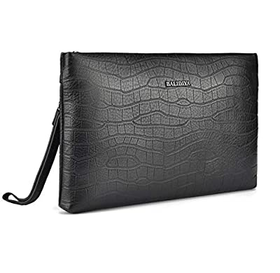 BALIDIYA Men Clutch Purse Leather Bags Wristlet Handbag Business Zipper Wallets (black-2)