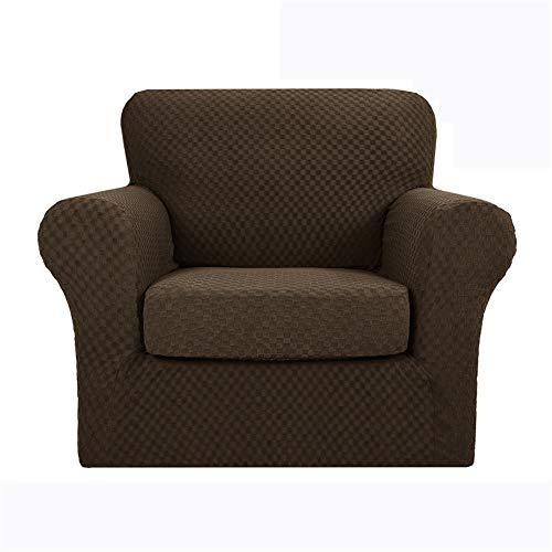 Sofabezug Jacquard Stretch Couchbezüge mit separaten Kissenbezügen, Loveseat Schonbezüge Stretch Anti-Rutsch mit elastischer Unterseite (Kaffee, 1-Sitzer)
