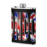 Miedhki London Word with Flag 8OZ Hip Flask Contenedor de Bolsillo de Acero Inoxidable para Beber Licor