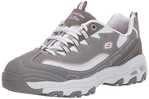 Skechers Women's D'Lites Health Care Professional Shoe, Gray/Pink, 6.5 M US