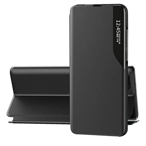 FINEONE® Hülle für Xiaomi Poco M3, Flip Ledertasche Hülle mit Stand, Clear View Booklet Handyhülle für Xiaomi Poco M3, Schwarz