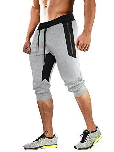 MAGCOMSEN Herren 3/4 Trainingshose Sommer Gym Running Shorts Männer Atmungsaktiv Outdoor Sweatpants Leicht Kurz Sporthose mit Gummibund Hellgrau, 30