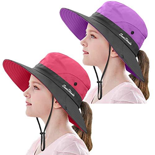2 Pieces 5-14Y Kids Summer Sun Hat Wide Brim UV Protection for Girls Ponytail Beach Bucket Cap (Purple&Watermelon Red)