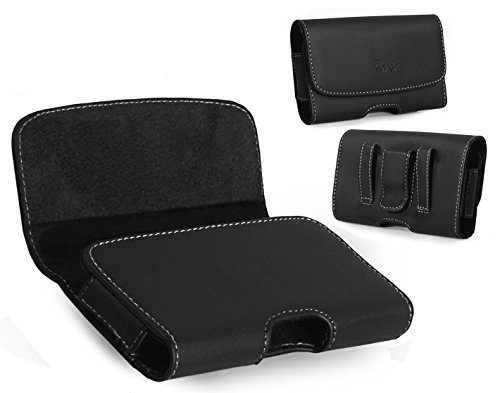 Leather Horizontal Belt Clip Case Pouch Holster for ZTE Grand X 3 Z959 ZMAX 2 Z958 Quartz Z797C [PERFECT FITS WITH ARMOR RUGGED DEFENDER CASE ON IT ]