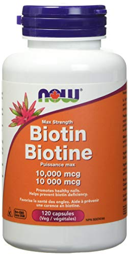 NOW Biotin 10,000mcg 120 Veg Capsules, 50 g