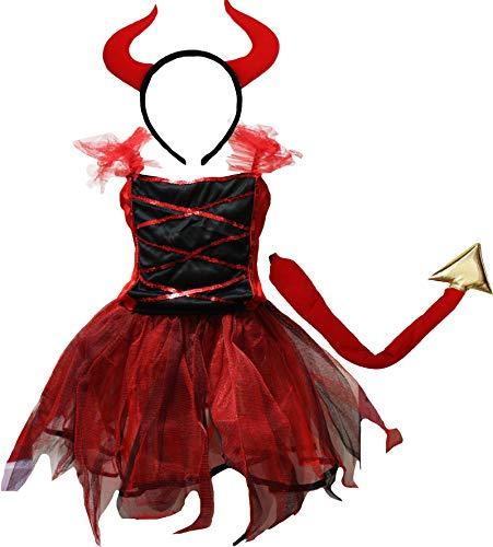 Petitebelle Disfraz de Halloween 2-12 años (10-12 años, Diablo Rojo)