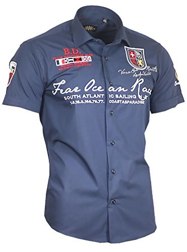Louis Binder de Luxe Herren Herren Hemd 806 Bestickt modern fit Kurzarm Marine blau 4XL 50