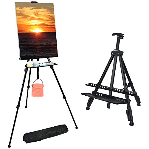 NIECHO 66 Inches Easel Stand with Tray, Aluminum Metal Art Easel Artist Tripod Adjustable Height from 21' to 66' with Carry Bag for Table-Top/Floor Painting and Displaying