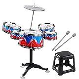 CHENTAOMAYAN Jazz Drum Set Einzel Fell 5PCS Drums mit Cymbal Schlagzeug Verstellbarer Hocker Percussion Musikinstrument-Spielzeug Playset