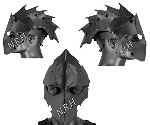Nautical Replica Hub Armour Hecho a mano cuero negro Assassin perfecto casco de cabeza para LARP Reenactment