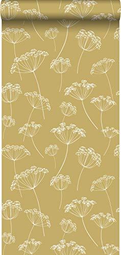 behang schermbloemen okergeel en wit - 139104 - van ESTAhome