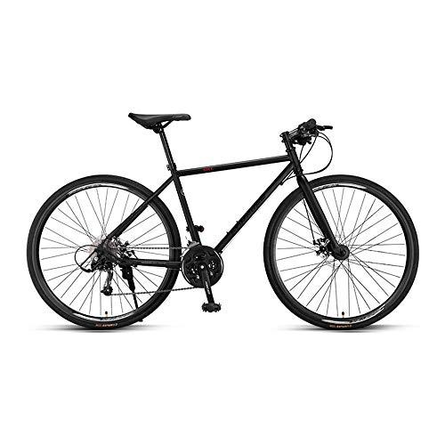 Bicicleta, Bicicleta de carretera, Bicicleta de carreras híbrida deportiva para adultos, Bicicleta de 27 velocidades, freno de disco doble, Con rueda 700C y marco de acero, Soporte de carga fuert