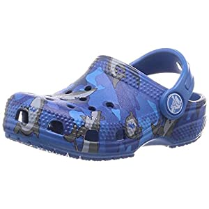 Crocs Unisex Kid's Classic Shark Clog|Slip On Water Shoe for Toddlers, Boys, and Girls, Prep Blue, C11 M US Little
