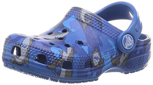 Crocs Classic Graphic Clog | Slip On Water Shoes for Boys and Girls, Sharks, 8 Toddler