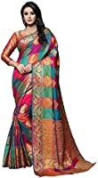 SORU FASHION Women's Kanchipuram Art Silk Saree With Un-stitched Blouse (Cott-814_Multicolored)