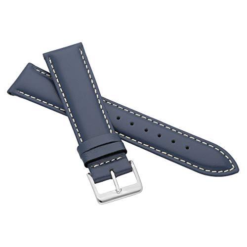 MARCHEL Glattleder LLB35 16 mm Blau-Weiß Lederarmband Echtleder Uhrenarmband Rindsleder Feines Leder Uhr Band