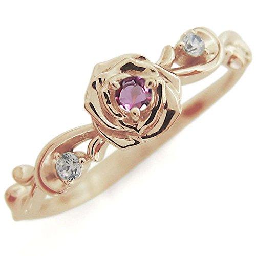 [プレジュール]ピンクトルマリン ローズ バラリング K18ピンクゴールド 指輪 花 リングサイズ6号