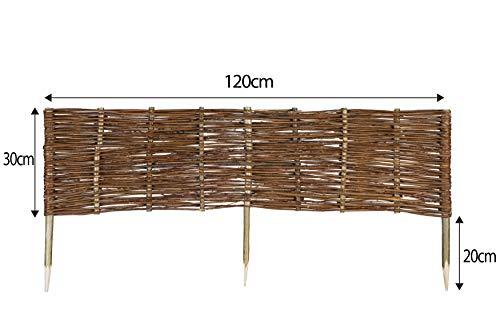 Mcsammler Weide Beeteinfassung in 16 Größen Weidenzaun Rasenkante Beetbegrenzung Steckzaun imprägniert mit Buchepflöcken für leichtes Einsetzen Länge: 120 cm Höhe: 30 cm