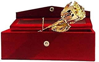 24k Gold Plated Natural Rose with Exclusive Red Velvet Box for Best Gift oprtion on Valentine Day, Birthday and Thanksgivi...