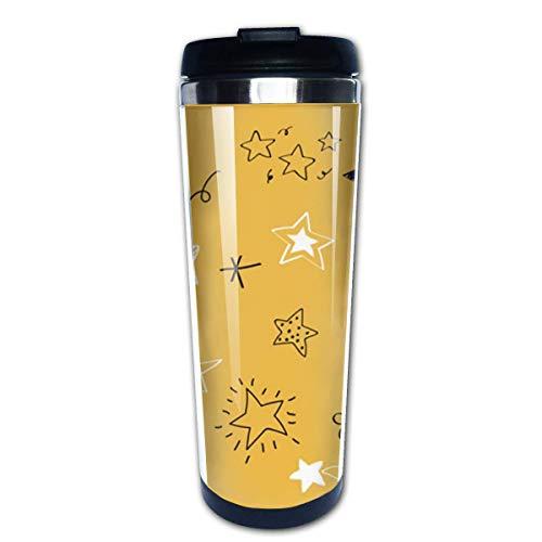 Varias estrellas Doodle Collection Vector Coffee Travel Mug Tazas de café con tapas Taza de acero inoxidable para hombres Mujeres
