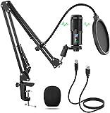 USB Micrófono, 192KHz/24bit Plug and Play Profesional Micrófono Podcast, Condensador Cardioide Micrófono con Soporte de Micrófono Ajustable Suspensión, Montura de Choque de Metal