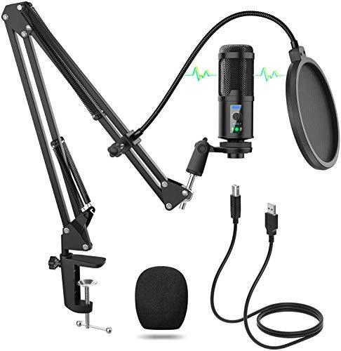 USB Mikrofon, Einstellbare Lautstärke PC Mikrofon, Professionelle 192KHZ/24Bit Aufnahme Kondensator Mikrofon Kit mit Tischständer für Podcast, Studio, Streaming, Broadcast, YouTube, Video, Recorder