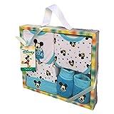 SET Neonato Topolino Mickey Mouse Disney Scarpine, Cappello E 2 Bavaglini in Cotone - Confezione...