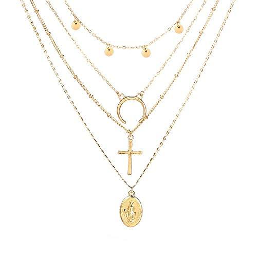 STRASS & PAILLETTES - Collar con Cadena de Varias Filas para el Cuello, círculo Dorado, Collar con Medalla Virgen María, Collar Largo con Cruz Crucifix. Collar Lune. 4 Collares en uno.