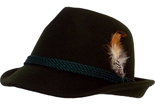 Traditional Feathered Hat, Green - green - X-Small
