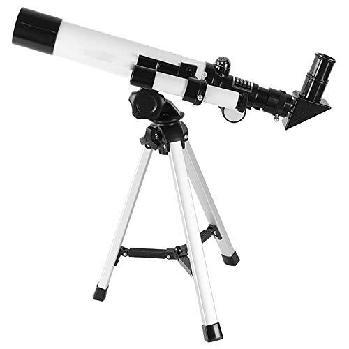 TOY Telescopio Niños Juguetes Al Aire Libre Telescopio Astronómico Mirar Explore Refracción Trípode Alto Poder Ampliación Acercar Imagen Enfoque Colapso/Blanco / 36×38cm