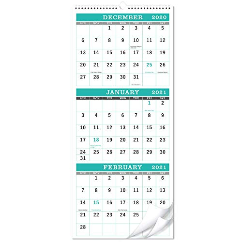 """Calendar 2021-3-Month Display Wall Calendar (Folded in a Month), 11.3"""" x 26"""" (when opened), Vertical Calendar with Thick Paper, December 2020 - January 2022, For Daily Organizing & Planning"""